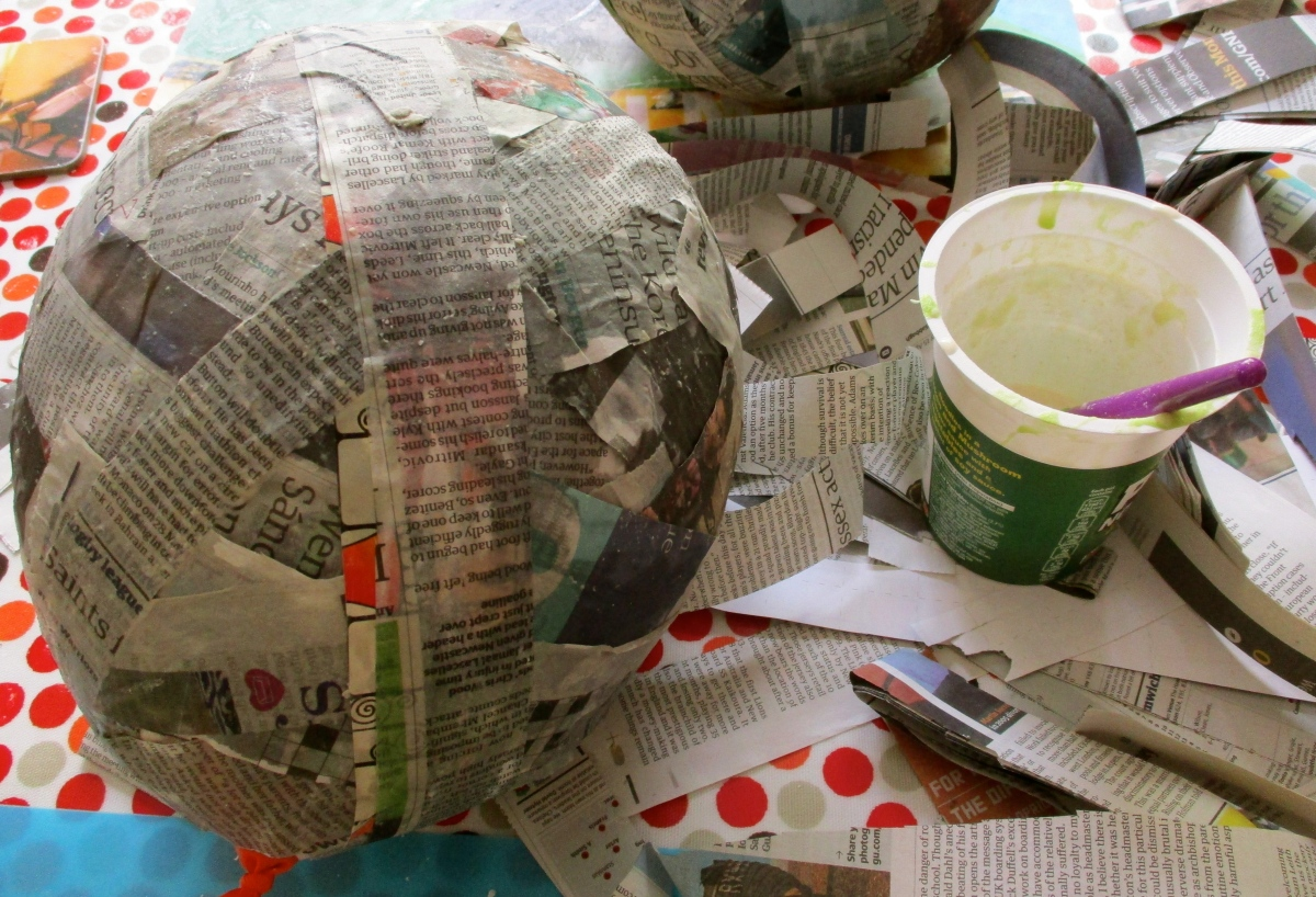 Summer Holidays Day 1,058: getting messy with papier-mâché